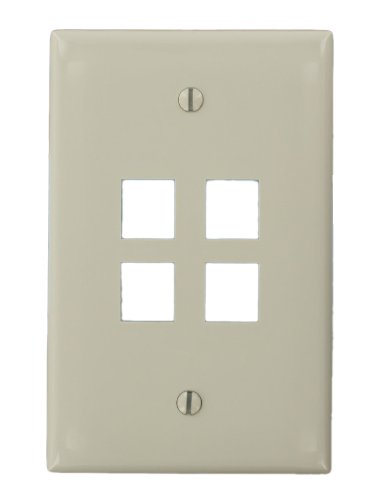 Leviton 41091-4TN QuickPort Midsize Wallplate, Single Gang, 4-Port, Light Almond by Leviton