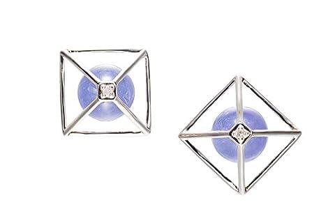 Pyramid Earrings / Triangle Studs - Everyday jewelry in 14k white gold, Tanzanite & diamond - Purple gemostone CAIRO by Majade