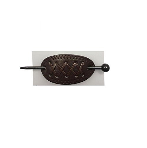 mytoptrendzr-leather-look-slide-barrette-stick-hair-ponytail-holder-dark-brown-xxxx-top-stitch-dark-