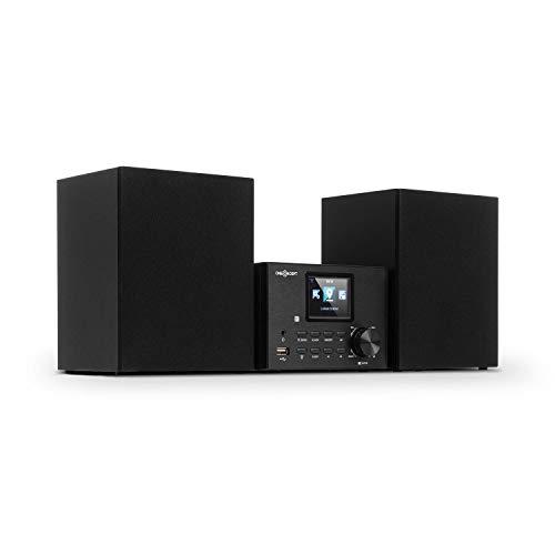 """oneConcept Streamo Stereoanlage mit Internetradio - Radioempfang per WLAN, DAB/DAB+ und UKW, 2X 10W RMS Lautsprecher, Bluetooth, CD-Player, Anschlüsse: USB, AUX-IN, 2,4"""" HCC Display, schwarz"""