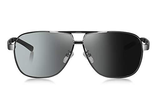 WHCREAT Herren Photochrome Polarisierte Sonnenbrille Pilotenbrille mit Federscharnieren UV400-Schutzglas - Schwarzes Silber Rahmen