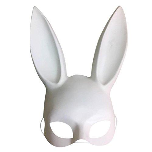 Matt/Bright Ostern Party Kaninchen Ohren Maske, mamum Ostern Party Kaninchen Ohren Maske Half Face Masken Nachtclub Bar Masquerade, White(Matte), 18*38CM (Kaninchen Willkommen-matte)