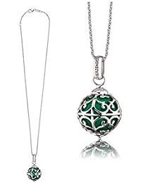 Herzengel Kette  mit Engelsrufer Anhänger für Mädchen 925er-Sterlingsilber rhodiniert mit grüne Klangkugel Länge 38 cm plus 2 cm