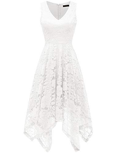 Meetjen Damen Elegant Cocktailkleid V-Ausschnitt Spitzenkleid Unregelmässig Taschentuch Saum Festlich Partykleid White S