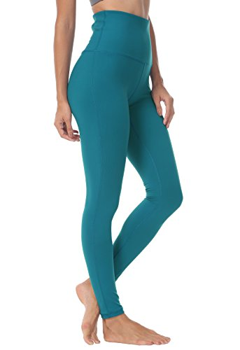 QUEENIEKE Damen-hohe Taillen Yoga Leggings Hosen Trainings Strumpfhosen laufen Farbe Blau-Grün Größe M(8/10 Blau-grüne Hose