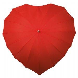 Herz-formiger Regenschirm - Rot
