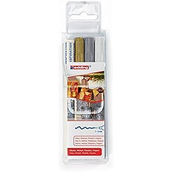 Edding 4-751-3 751 Glanz-Lack-Marker, 3er Set - Lackmarker zur Gestaltung von Glas, Metall und Kunststoff, weiß/gold/silber