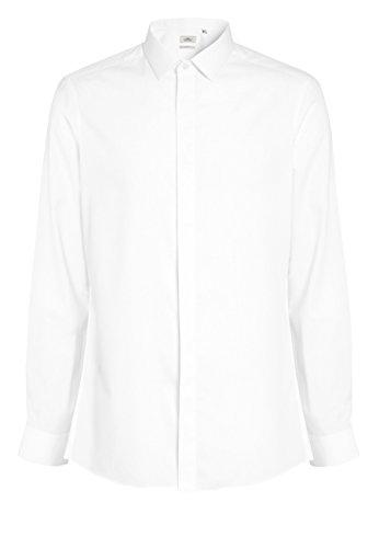 next Herren Strukturiertes Slim-Fit Hemd mit Verdeckter Knopfleiste Weiß 17L - Mandarin Kragen Ärmellos