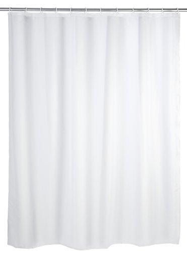 WENKO 19103100 Duschvorhang Uni Weiß - wasserdicht, pflegeleicht, Kunststoff - PEVA, Weiß (Gr. 120 X 200 cm)