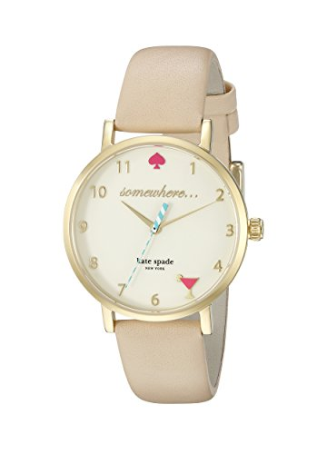 Kate Spade Women's 34mm Cream Leather Band Steel Case Quartz White Dial Analog Watch 1YRU0484