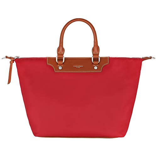 Rot Nylon Tote (David Jones - Damen Tote Shopper Nylon wasserdichte Handtasche - Tragetasche Schultertasche - Shopping Bag Große Kapazität - Umhängetasche Schultertasche Casual Arbeit Reise - Rot)