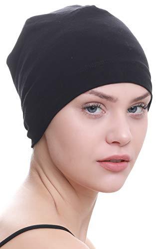 Deresina Headwear Schlafmütze Aus Baumwolle für Krebs, Haarverlust (Schwarz)
