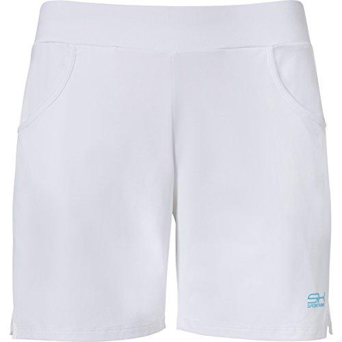 Sportkind Mädchen & Damen Tennis/Fitness/Bermuda Shorts, weiss, Gr. S