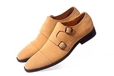 Niche Men's Formal Monk Strap Formal Beige Suede Shoes