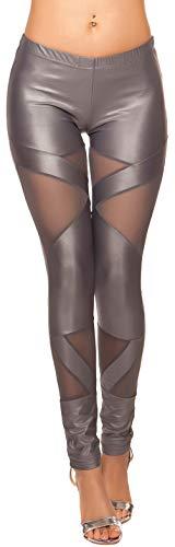 Firstclass Trendstore Wetlook-Leggings mit Netzeinsätzen * S-L * Leggins Clubwear mesh Hose Damen (900777 grau M/L LE19211U)