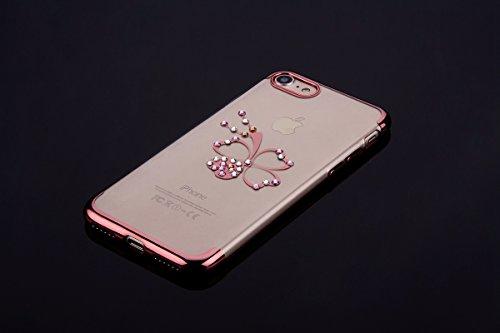 Custodia iPhone 7, iPhone 7 Cover Silicone, SainCat Cover per iPhone 7 Custodia Silicone Morbido, Custodia Bling Glitter Strass Diamante Silicone 3D Design Ultra Slim Silicone Case Ultra Sottile Morbi Trifoglio #2