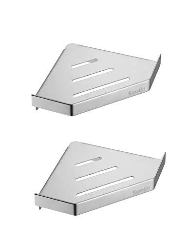 Kazeila Eckregal für Küche oder Badezimmer, Mini Duschregal SUS 304 Edelstahl, 2 Böden, poliert. (Dreieck), Edelstahl, poliert, 20(L) cmx15(W) cmx4(H) cm