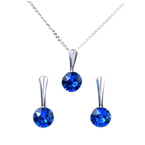 Crystals & Stones - XIRIUS - Schmuck-Set - Farbe Varianten !! - Silber 925 Schön Damen Schmuckset mit Kristallen von Swarovski Elements -...
