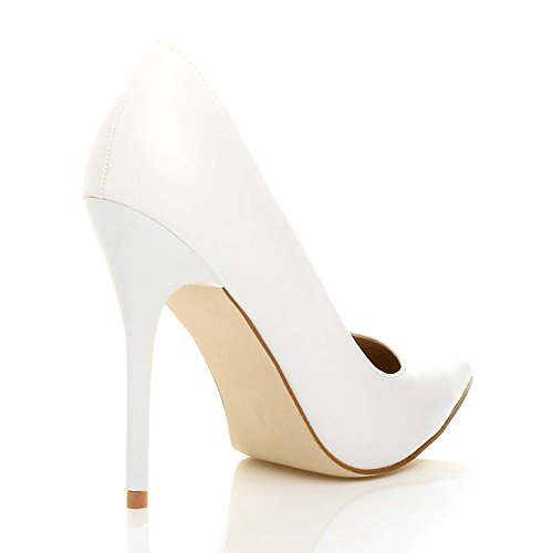 Donna tacco alto lavoro festa elegante scarpe de moda décolleté a punta taglia Bianco opaco