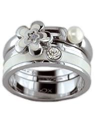 XC38 - 701812613080 - Bague Femme - Fantaisie - Acier inoxydable - Perle d'Imitation - Blanc