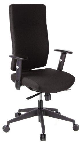 hjh OFFICE 608500 Bürostuhl Drehstuhl PRO-TEC 300 Stoff schwarz, Bürodrehstuhl ergonomisch, extrem robuster Stoff, extra hohe Rückenlehne, verstellbare Armlehnen, Schreibtischstuhl, Chefsessel