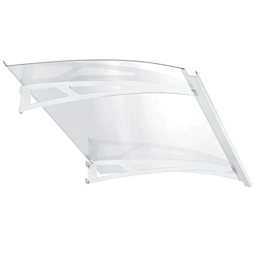 Vordach Überdachung Haustür 140x90 cm Polycarbonat klar Stahl weiß Pultbogenvordach