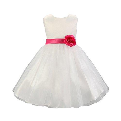 LSERVER Mädchen Prinzessin Kleid mit 'Blumen'-Deco, Pink, Gr. 116( Herstellergröße: 120)