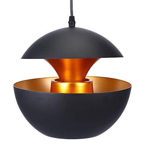 YANGSANJIN Retro Industrie Neue Hängeleuchte Pendelleuchte schwarz Aluminium Art Deco Vintage Deckenleuchte E27 Fassung für Esstisch Küche Kaffee Bar Loft Beleuchtung, 35cm -