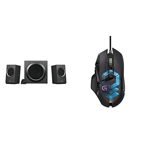 Logitech Z337 Bluetooth Lautsprechersystem mit 80 Watt und Subwoofer (PC, Tablet, Smartphone) schwarz & LogitechG502 ProteusSpectrum Gaming-Maus schwarz Universal Satellite Lautsprecher