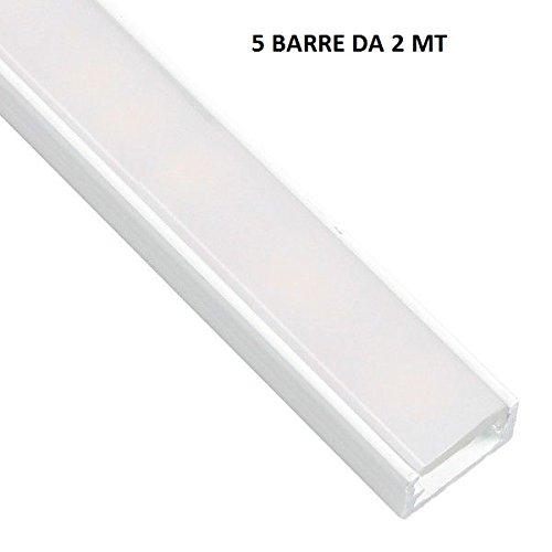 10mt perfiles de aluminio color blanco dl14075barras de 2mt para tiras LED con cubierta opaca, tapas y grapas de montaje incluidas