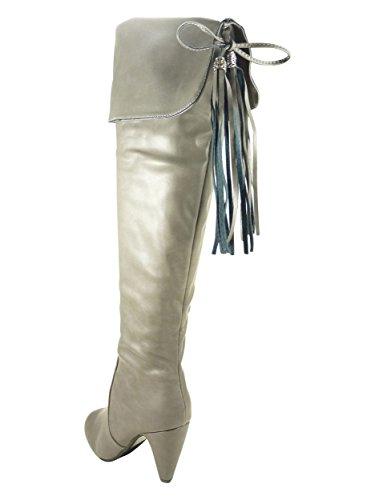 Bottes hautes Cuissardes femme à talons hauts de 8 cm zippées similicuir Gris