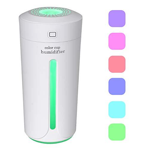 Dricar humidificador de Aire casa-230ML Humidificador USB Coche, Niebla congeladores humidificador de Aire, Paro Automático, silencioso con 7Colores Luces LED (Color Blanco)