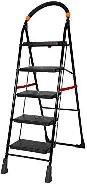 Happer Premium Foldable Step Ladder, Clamber, 5 Steps (Black & Ora