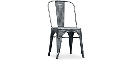 Tolix Style Steel Unique Industrial Design Square Seat Chair - Comfortable Rustic Metal Chair is Perfect for Your Kitchen, Living Room, Bedroom Or Outdoor
