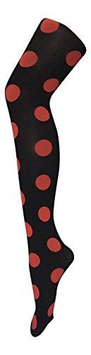 Sock Snob - Damen undurchsichtig gemustert farbig winter 80 den strumpfhose in verschiedenen farben größe 36-42 eur (36-42 eur, Punkte Rot)