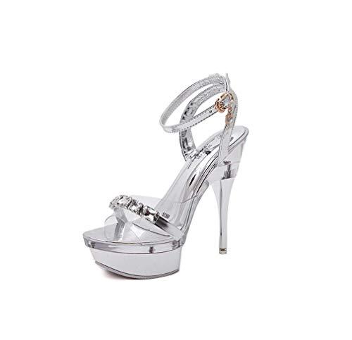 DUQI22 Damen Plateau Kleid Sandale, Klar High Heels Stripper Schuhe Damen Pole Dance Pumps Sandalen,Clear,38EU Stripper-schuhe