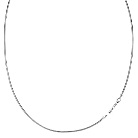 Round Omega Chain Necklace With Screw Off Lock In 14k White Gold - Width 1mm