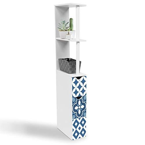 IDMarket - Meuble WC étagère 2 portes motif carreaux de ciment bleu