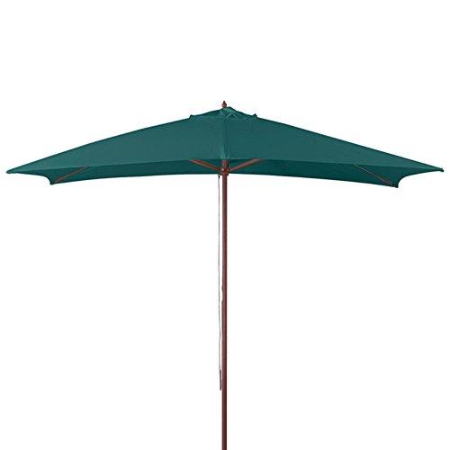 Verdelook ombrellone in legno a carrucola, 3x2, verde scuro, arredo esterni giardino