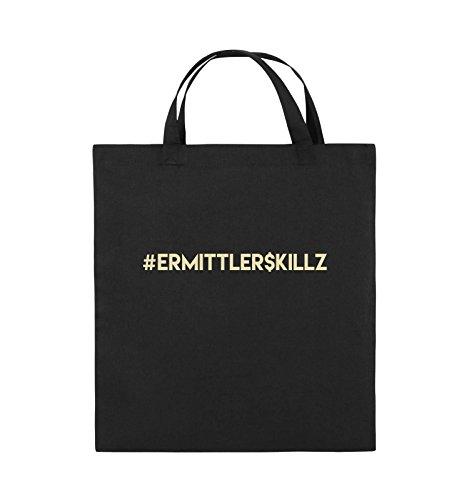 Comedy Bags - #ERMITTLER$KILLZ - Jutebeutel - kurze Henkel - 38x42cm - Farbe: Schwarz / Silber Schwarz / Beige
