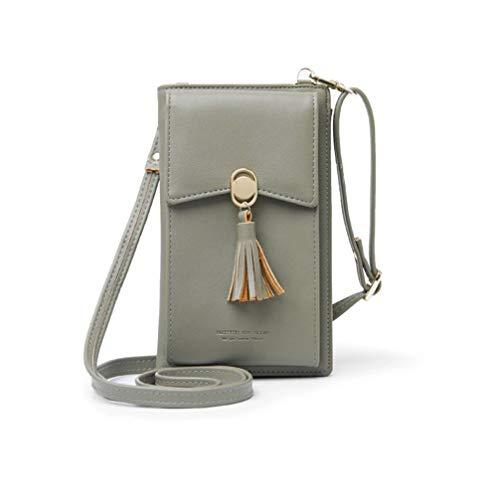 HMILYDYK Frauen Brieftasche Cross-Body Tasche Leder Geldbörse Handy Mini-Tasche Kartenhalter Schulter Brieftasche Tasche (Tassel Green) -