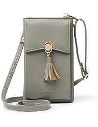 HMILYDYK Frauen Brieftasche Cross-Body Tasche Leder Geldbörse Handy Mini-Tasche Kartenhalter Schulter Brieftasche Tasche