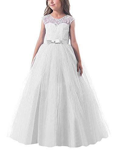 NNJXD Mädchen Kinder Spitze Tüll Hochzeit Kleid Prinzessin Kleider Größe (150) 9-10 Jahre Weiß