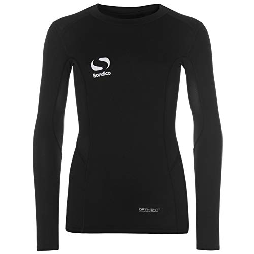 Sondico Kids Long Sleeve Core Base Layer Top Junior Compression Fit Sports Black 13 Yrs