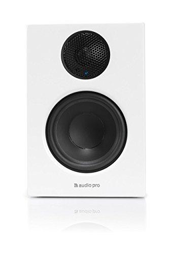 Audio Pro Addon T14 Aktiver Regallautsprecher mit Bluetooth (1 Paar mit Aluminium-Fernbedienung, 2 x 50W) Weiß
