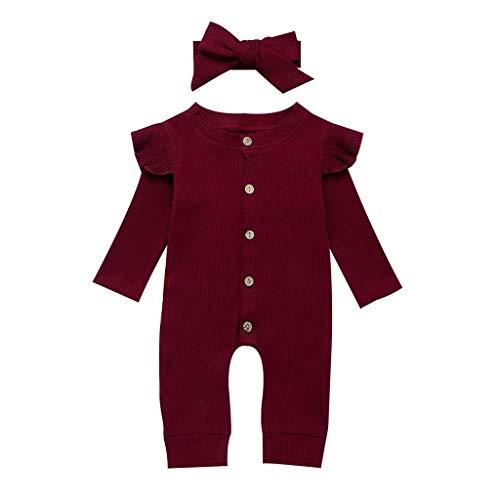 LABIUO Combinaison Bébé Garçon Fille Automne Hiver Pyjama Manches Longues en Coton Couleur Unie Volants Barboteuse Combinaisons + Bandeau Ensemble Bébé Vêtements Pas Cher pour 3-24 Mois(Rouge,80)