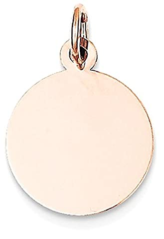IceCarats 14k Rose Gold Plain Round Disc Pendant Charm Necklace Engravable