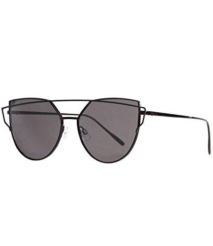 augen Retro Vintage Sonnenbrille klar + verspiegelt (3002 - schwarz - black getönt) (Klar Verspiegelten Sonnenbrillen)