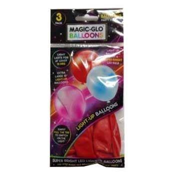 uchtet im Dunkeln, Ballons, magische LED-Leuchtmittel, Neonlicht, Party, Spaß für Kinder, Geburtstag, 3 Stück. rot ()