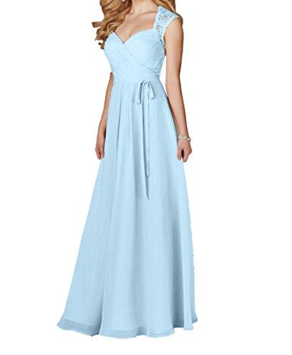 Charmant Damen Spitze Herzausschnitt Promkleider Abschlussballkleider Abendkleider Ballkleider Lang Himmel Blau